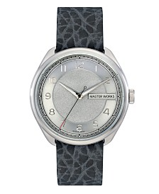 Master Works Men's Classic Grey Genuine Leather Strap Watch, 43mm