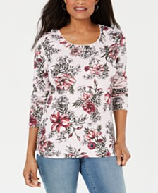Karen Scott Scoop-Neck Printed Top, Created for Macy's
