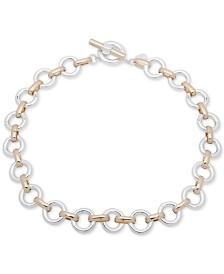 """Lauren Ralph Lauren Two-Tone Circle 17"""" Collar Necklace"""