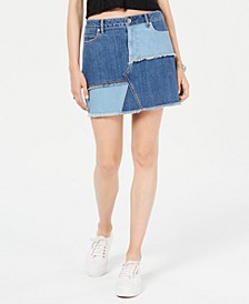 Juniors' Patchwork Denim Mini Skirt, Created for Macy's