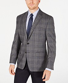 Men's Classic-Fit UltraFlex Stretch Gray/Blue Plaid Sport Coat