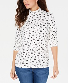 Karen Scott Petite Floral-Print Mock-Neck Top, Created For Macy's