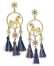 Thalia Sodi Gold-Tone Crystal Unicorn & Tassel Drop Earrings, Created for Macy's