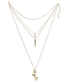 "Gold-Tone Crystal Unicorn Layered Pendant Necklace, 14"" + 4"" extender, Created for Macy's"