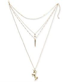 "Thalia Sodi Gold-Tone Crystal Unicorn Layered Pendant Necklace, 14"" + 4"" extender, Created for Macy's"