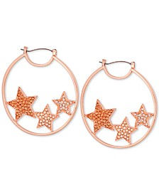 GUESS Pavé Medium Star Hoop Earrings 2""