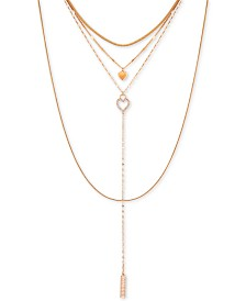 "GUESS Gold-Tone Pavé Heart Multi-Strand Necklace, 6"" + 2"" extender"
