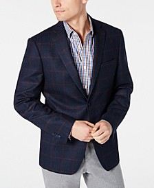 Men's Classic-Fit Blue/Burgundy Windowpane Sport Coat