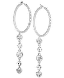 """Silver-Tone Extra Large Crystal-Drop Hoop Earrings 4"""""""