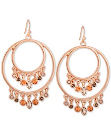 GUESS Rose Gold-Tone Crystal Double Drop Earrings