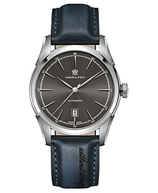 Men's Swiss Automatic Spirit Of Liberty Blue Leather Strap Watch 42mm