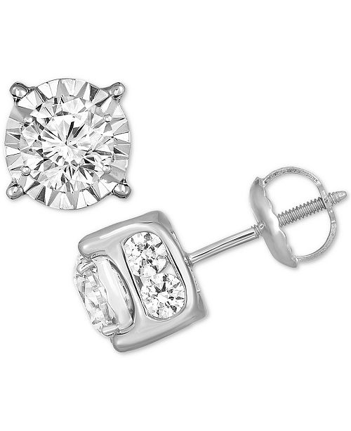 TruMiracle Diamond Stud Earrings (2 ct. t.w.) in 14k White, Yellow or Rose Gold