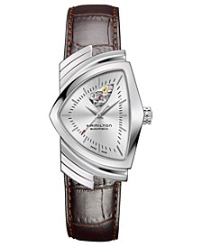 Unisex Swiss Automatic Ventura Brown Leather Strap Watch 34.7x53.5mm
