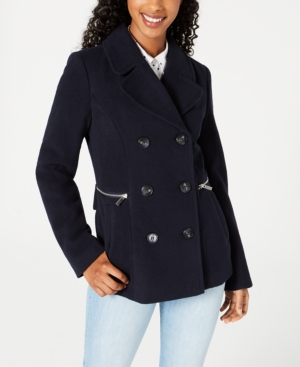 Juniors' Double-Breasted Peacoat