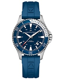 Unisex Swiss Automatic Khaki Scuba Blue Rubber Strap Watch 40mm