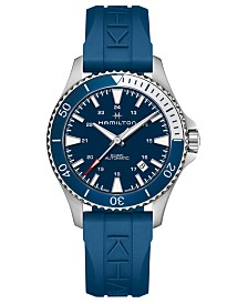 Hamilton Unisex Swiss Automatic Khaki Scuba Blue Rubber Strap Watch 40mm