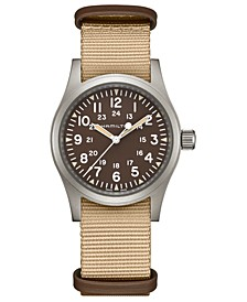 Unisex Swiss Mechanical Khaki Field Beige Fabric Strap Watch 38mm