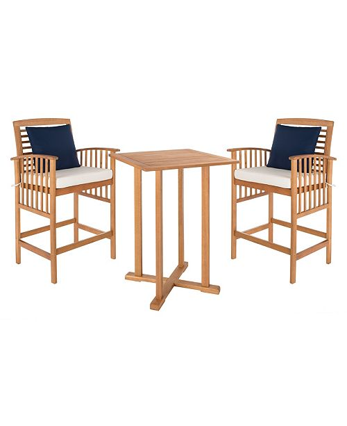 Safavieh Pate 3pc Bar Table Bistro Set, Quick Ship