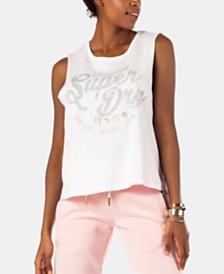 Superdry Sleeveless Logo-Print Cotton Top