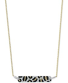 "EFFY® Multi-Color Diamond 18"" Bar Pendant Necklace (3/4 ct. t.w.) in 14k Gold"