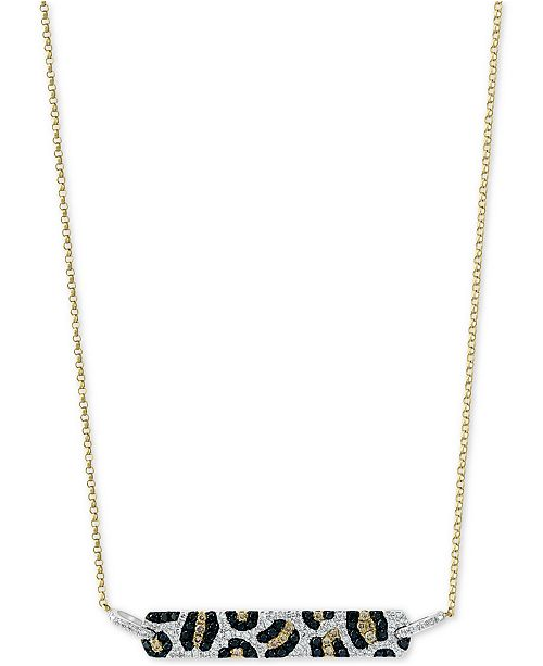 """EFFY Collection EFFY® Multi-Color Diamond 18"""" Bar Pendant Necklace (3/4 ct. t.w.) in 14k Gold"""