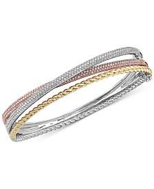 EFFY® Diamond Tri-Color Bangle Bracelet (1-1/2 ct. t.w.) in 14k Gold, 14k White Gold and 14k Rose Gold