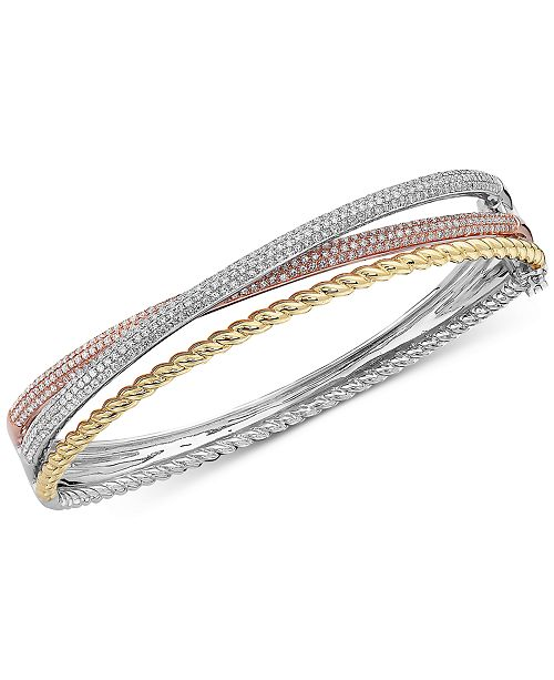 EFFY Collection EFFY® Diamond Tri-Color Bangle Bracelet (1-1/2 ct. t.w.) in 14k Gold, 14k White Gold and 14k Rose Gold