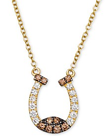 "Le Vian Chocolatier® Vanilla Diamond® (1/5 ct. t.w.) & Chocolate Diamond® (1/6 ct. t.w.) 18"" Horseshoe Pendant Necklace in 14k Gold"