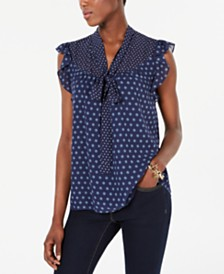 Michael Michael Kors Tie-Neck Printed Sleeveless Top