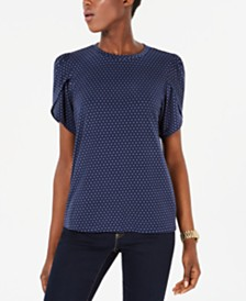 Michael Michael Kors Petal-Sleeve T-Shirt, Regular & Petite Sizes