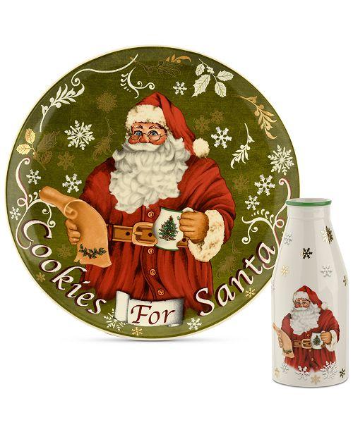 Spode Christmas Tree Cookies for Santa Plate & Bottle