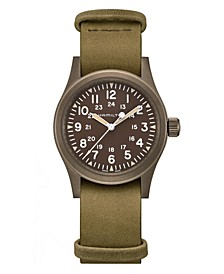 Unisex Swiss Mechanical Khaki Field Green Leather Strap Watch 38mm