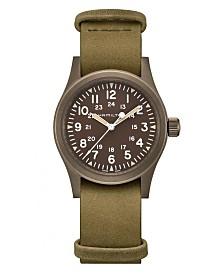 Hamilton Unisex Swiss Mechanical Khaki Field Green Leather Strap Watch 38mm