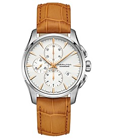 Men's Swiss Automatic Chronograph Jazzmaster Brown Leather Strap Watch 42mm