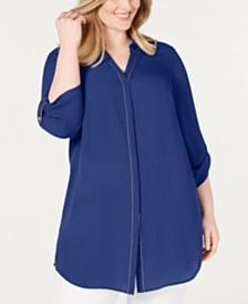 JM Collection Plus Size Beaded Utility Shirt, Created for Macy's