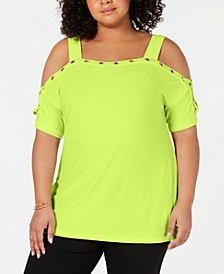 Plus Size Cold-Shoulder Grommet-Trim Top