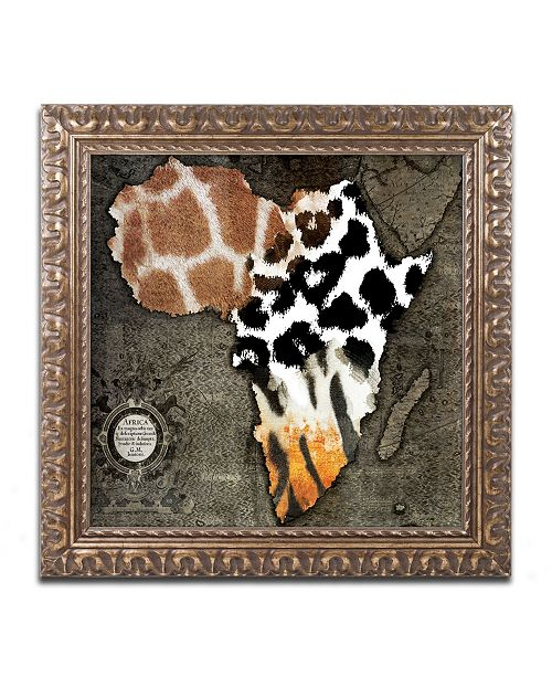 "Trademark Global Color Bakery 'Animal Map Of Africa' Ornate Framed Art - 16"" x 16"""