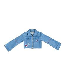 Kinderkind Big, Little, & Toddler Girls Patchwork French Terry Denim Jacket