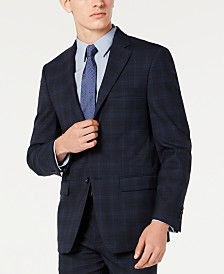 Calvin Klein Men's X Slim-Fit Stretch Navy Plaid Suit Separate Jacket