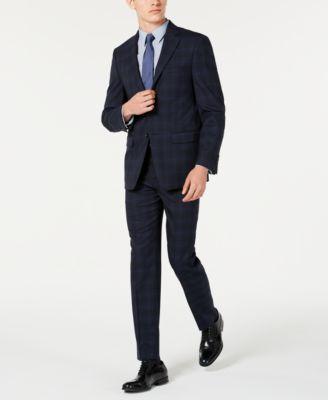 Men's X Slim-Fit Stretch Navy Plaid Suit Separate Jacket