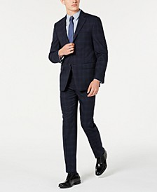 Men's X Slim-Fit Stretch Navy Plaid Suit Separates