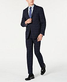 Calvin Klein Men's X Slim-Fit Stretch Navy Plaid Suit Separates