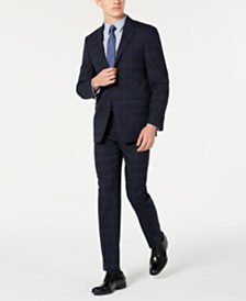 Calvin Klein Men's X Slim-Fit Stretch Navy Plaid Suit Separates