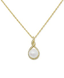 """Cultured Freshwater Pearl (7mm) & Diamond (1/10 ct. t.w.) 18"""" Pendant Necklace in 14k Gold or 14k Rose Gold"""