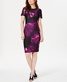 Floral Puff-Sleeve Sheath Dress