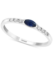 EFFY Certified Sapphire (1/6 ct. t.w.) and Diamond (1/10 ct. t.w.) Band in 14k White Gold