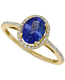 Tanzanite (1-1/5 ct. t.w.) & Diamond (1/6 ct. t.w.) Statement Ring in 14k Gold