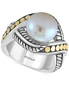EFFY® Cultured Freshwater Pearl (10mm) Ring in Sterling Silver & 18k Gold-Plate