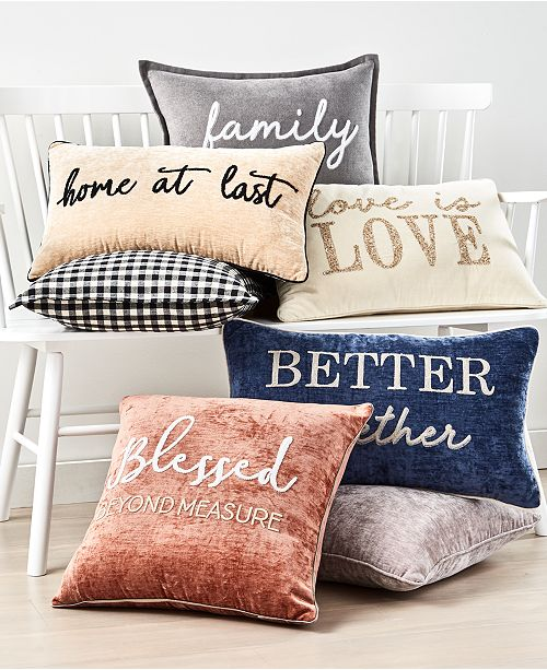Lacourte Words Decorative Pillow Collection Reviews Decorative Throw Pillows Bed Bath Macy S