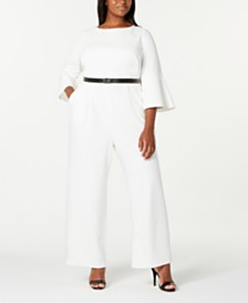Calvin Klein Trendy Plus Size Bell-Sleeve Jumpsuit